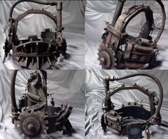 Here is the quad view of my Reverse Bear Trap replica. The entire thing is constructed from foam core and bits from the hardware store. It took about Saw Reverse Bear Trap Saw Traps, Jigsaw Saw, Amanda Young, Horror Films, Horror Movie Costumes, Bear Trap, Slasher Movies, Horror Makeup, Mascaras