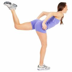 The Lunge Leg Lift #exercise works your abs, butt, hamstrings and quads.