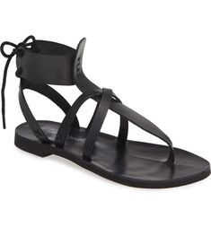 Free shipping and returns on Vacation Day Sandal at Nordstrom.com. Slim straps crisscross atop the T-strap of a carefree sandal that ties at the back of the ankle for a utilitarian finishing touch. Black Sandals, Gladiator Sandals, Vacation Days, T Strap, Free People, Nordstrom, Ankle, Leather, Shoes