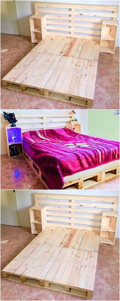 Presenting to you the lovely creation of the used wood pallet bed idea. It is al.Thanks podrojkinpolina for this post.Presenting to you the lovely creation of the used wood pallet bed idea. It is all designed in the different pattern of des# bed Wood Pallet Beds, Pallet Furniture Plans, Diy Pallet Bed, Wooden Pallet Projects, Diy Furniture Projects, Wood Pallets, Pallet Art, Small Pallet, Pallet Tables