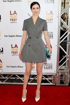 watch for grey to get huge come fall... for now, we're loving Krysten Ritter in a grey suit-dress for summer nights
