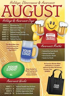 There aren't any official holidays in August, but there are chances for a great promotion. Check out the observances and awareness dates this month! Hello August, August 2013, Lovers Day, Book Lovers, International Beer Day, August Holidays, Calendar Journal, Marketing Calendar, Holiday Fun