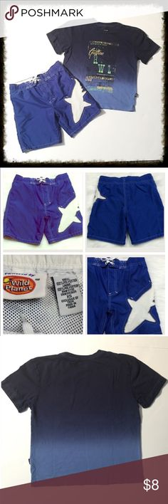 ❎3/$15 Lot of 2: Swim Shorts and Gap T Shirt XS Blue and White Shark Swim Shorts. Cute blue and white design. Drawstring waist and nylon lining. Interior pocket. Brand is Powered by Wild Planet. Size XS.  Gap Kids Blue Ombré Tee. In excellent condition. Size XS. Boy's lot. 🐶Bundle 3 $10 items for $15. Add them to a bundle, offer $15, & I will accept. 🐶 GAP Swim Swim Trunks