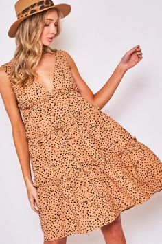 Dot Printed V Neck Dress - Taupe Combo / M