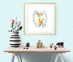 """Dear Little Deer is one of the Forest Friends nursery art set, modern wall art, nursery decor, custom add a name print digital instant download, 16"""" x 16"""" 40 x 40cm large poster A3 size  Ready to Print Art  Please note, this listing is for a DIGITAL FILE, no print will be posted to you.   This sweet watercolour image of a young deer surrounded with blue green grasses makes a lovely gift to welcome a new baby or as nursery wall art.  by Latchfarmstudios"""