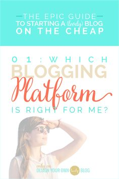 Have you put off starting your blog because you just don't know which platform to go with? Then you need to read my free Epic Guide to Starting a (lovely) Blog on the Cheap! Part 1: Which Blogging Platform is Right for Me? right now! See the entire guide at www.DesignYourOwnBlog.com  P.S. you'll even learn how to get a FREE copy of my $24 ebook, Blog Beautiful!