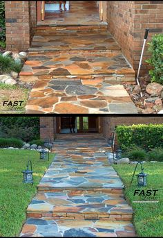 stone walk way, home enterance, flagstone, front walks, stone entry way design
