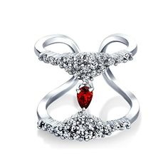 Bling Jewelry Simulated Garnet Glass Rhodium Plated Double Band CZ Ring