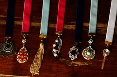 DIY ribbon bookmarks made with the re-purposed jewlery. They make fabulous favors and gifts! Beaded Bookmarks, Diy Bookmarks, How To Make Bookmarks, Ribbon Bookmarks, Jewelry For Her, Old Jewelry, Ribbon Jewelry, Indian Jewelry, Jewlery
