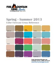 Trending colors via Fire Mountain Gems and Pantone for 2013