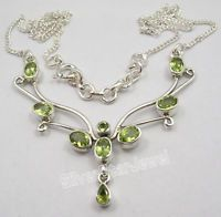 """925 Sterling Silver CUT PERIDOT BESTSELLER Large Chain Necklace 17 3/4"""" Inches"""