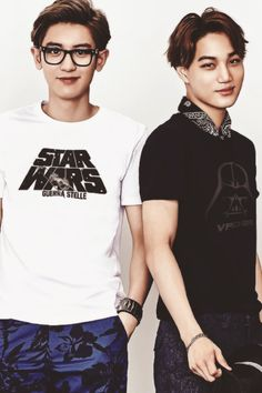 #CHANYEOL #KAI #EXO.....I love Chanyeol's Star Wars shirt :D