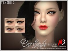Cat Style Eyeliner by tsminh_3 at TSR via Sims 4 Updates