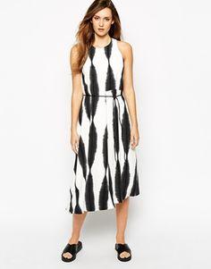 Whistles Sekka Drape Dress in Line Print