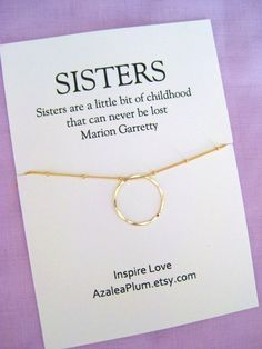 Sister Gift Necklace Birthday Big 50th Gold Circle For