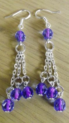 Violet Lined With Sapphie Czech Glass Beaded Earrings 925 Stamped Hooks
