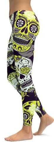 Sassy Yellow Sugar Skull Leggings - GearBunch Leggings / Yoga Pants (scheduled via http://www.tailwindapp.com?utm_source=pinterest&utm_medium=twpin&utm_content=post163368123&utm_campaign=scheduler_attribution)