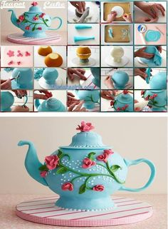 Tea Pot Cake - For all your cake decorating supplies, please visit craftcompany. Cake Decorating Supplies, Cake Decorating Techniques, Cookie Decorating, Pretty Cakes, Cute Cakes, Fondant Cakes, Cupcake Cakes, Teapot Cake, Novelty Cakes