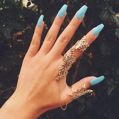 Imagem de nails, blue, and rings
