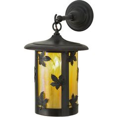 10 Inch W Fulton Maple Leaf Hanging Wall Sconce - Custom Made. 10 Inch W Fulton Maple Leaf Hanging Wall SconceCustom crafted of Solid Brass, this handsome Lantern is designed with Beige Iridescent art glass adorned with stunning maple leaf accents. The cylindricalshaped hardware is finished in Craftsman Brown. this signature Craftsman fixture is listed for both indoorand outdoor applications. Made in America by Meyda artisans. Theme:  RUSTIC LODGE ART GLASS Product Family:  Fulton Maple Leaf…