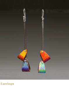 Jewelry by Lauren Pollaro;; love the bits of color on the long length of dark steel