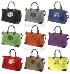 Monogrammed Khaki Weekend Travel Bag Preppy Custom Tote Marley Lilly