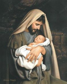 St Joseph - Pray for us AN UNUSUAL NATIVITY PICTURE -- not a portrait of mother Mary, but of earthly father Joseph cradling the sleeping baby Jesus. Artwork with photography portrait quality by Simon Dewey - Catholic Art, Religious Art, Easter Religious, Roman Catholic, Simon Dewey, Image Jesus, Pictures Of Christ, Religious Pictures, Baby Jesus Pictures