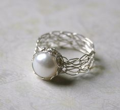 Silver Pearl Ring - Wire Crocheted Sterling Silver & Freshwater Pearl - Any Size - MADE TO ORDER. $55.00, via Etsy.