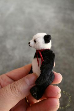Miniature Mini Panda Style Artist Teddy Bear by Aerlinn Bears