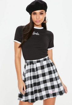 297902650be34 Missguided Barbie x Petite Black Fitted Crop Top Missguided Outfit