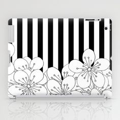 Cherry Blossom Stripes - In Memory of Mackenzie iPad Case #black #white #stripes #strip #flower #cherry #blossom #memory #mackenzie