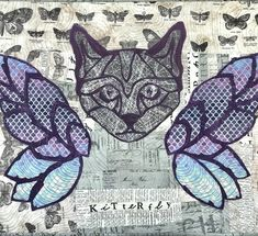 Kitterfly - BrisbaneMQG swap 2018. Purple, cats, butterflies and improv.  #tulapink #artgalleryfabric #timholtz #improv #modernquilts #isew