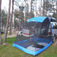TailVeil SUV Minivan Tent w/rainfly stuff sack and tent stakes - Camping Ideas Auto Camping, Truck Camping, Camping Stove, Camping Survival, Tent Camping, Camping Hacks, Outdoor Camping, Camping Cooking, Tailgate Tent