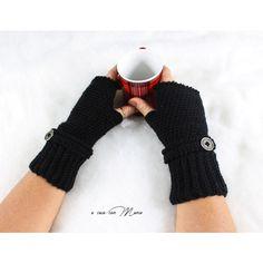 Guanti in lana neri, gloves blacks wool, handmade crochet nero guanti... (610 RUB) via Polyvore featuring accessories и gloves