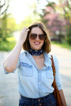 How to wear a Bandana, High Rise Jeans, Chambray, Jessica Quirk