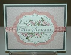 handmade sympathy card ... apothocary label and stamps ... pink ... nice use of ribbon ...  Stampin' Up!
