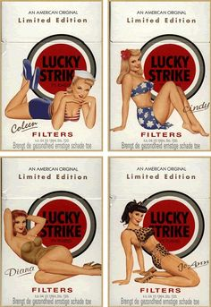 Lucky Strike, Dont you just adore old school pin up dolls on the packaging of consumer goods! love it! I wish we still did that