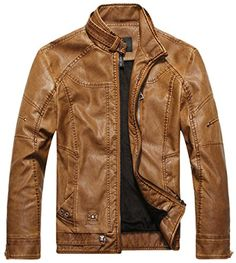 Chouyatou Men's Vintage Stand Collar Pu Leather Jacket (M...