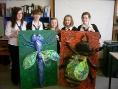 Insects project: They have been built up using mixed media and as a problem-solving project - using papier mache, wire, string, recycled bottles, split peas, spray paint and toilet tissue! (not recycled!!)