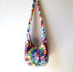 Tie Dye Hobo Bag Sling Bag Bright Colorful by 2LeftHandz on Etsy, $35.00