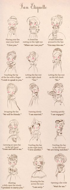guide on hand fan language with hand drawn victorian ladies