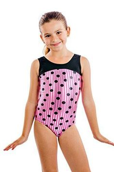 208175915768 Polka Dot Lizatards leotard has stripes within the pink with the adorable black  dots on it