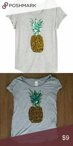 Pineapple Shirt Soft grey shirt with lots of sequins.  In great shape! H&M Tops Tees - Short Sleeve