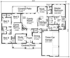 turn Study to Bedrm, turn Dining to Study, Turn Bed 2 to Pet with door to enclosed Dog Run, turn one bay of Garage to Exercise rm, extend both Porches, get rid of doors from Bed 3 & 4 to Bath, only entry from Hall.