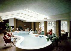 midcenturymodernfreak:  1941Defoe House | Living Room & Indoor Pool | Architect: Alden Dow | Bay City, Michigan - Via