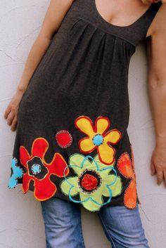 Floral reciclado, appliqued Vestido de túnica fantasía gitana hippie boho