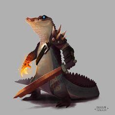 "axbraun: "" Fun croc character. Rusty sword, molten hand. #art #illustration #drawing #sketch #painting #crocodile #reptile #ipad #procreateapp """