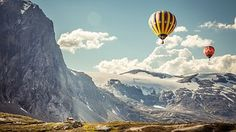 Hot Air Balloons, Mountains, Floating
