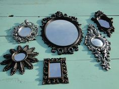 Set of 6 Wild Ornate Vintage Mirrors Wall Mirror Ornate Gilded Frame Hollywood Regency Paris Apartment French Gothic Metallica Mirrors via Etsy