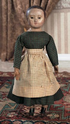 Silhouettes: 178 American Cloth Doll by Izannah Walker with Ringlet Curls
